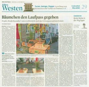 Bäumchen den Laufpass gegeben – 22.10.2016, Kölner Stadtanzeiger