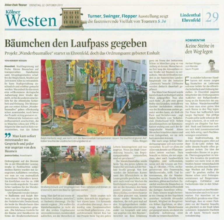 Bildschirmfoto Kölner Stadtanzeiger zur Wanderbaumallee, 22.10.2019
