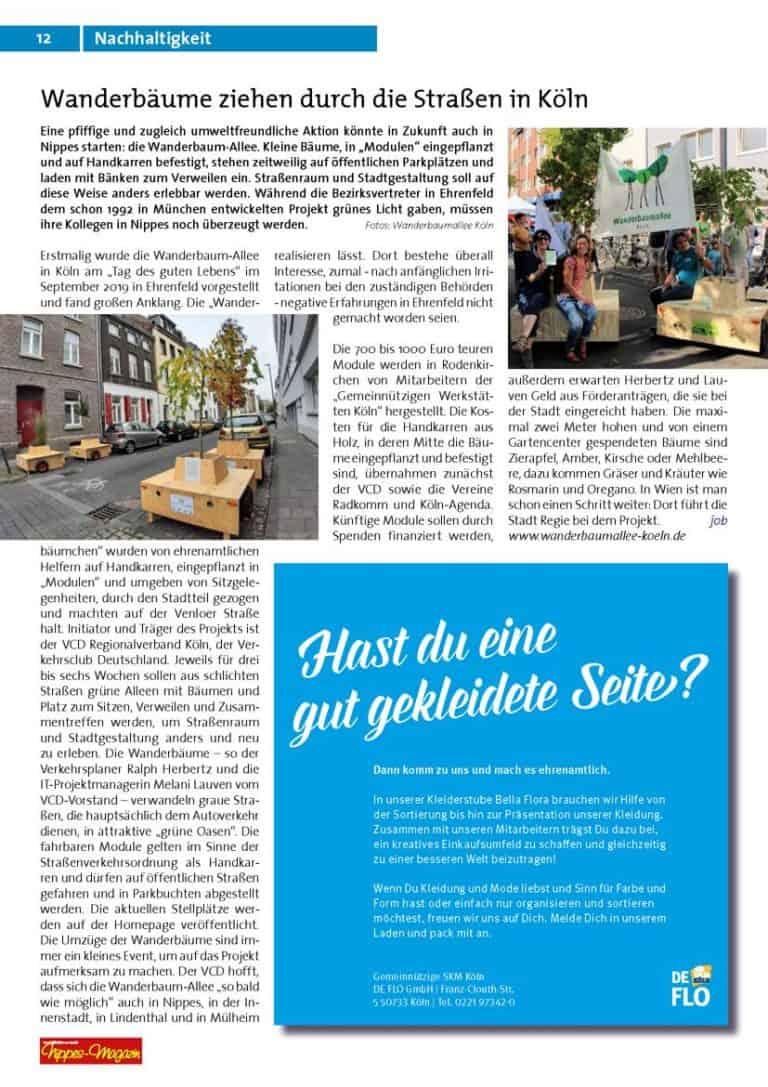 Artikel zur Wanderbaumallee im Nippes-Magazin
