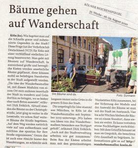 Bäume gehen auf Wanderschaft  08/2020, Kölner Wochenspiegel