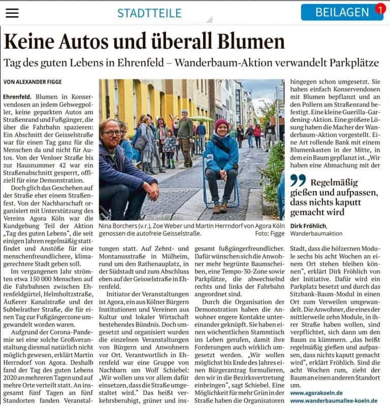 Abbildung des Zeitungsartikels im Kölner-Stadtanzeiger